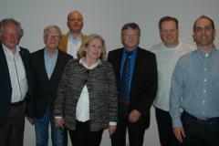 """V.l.n.r. Werner Kinder, """"Kalle"""" Paulsen, Dale Habbe, Elisabeth Alnor, Rainer Fahs, Andreas Luth, André Seifert"""